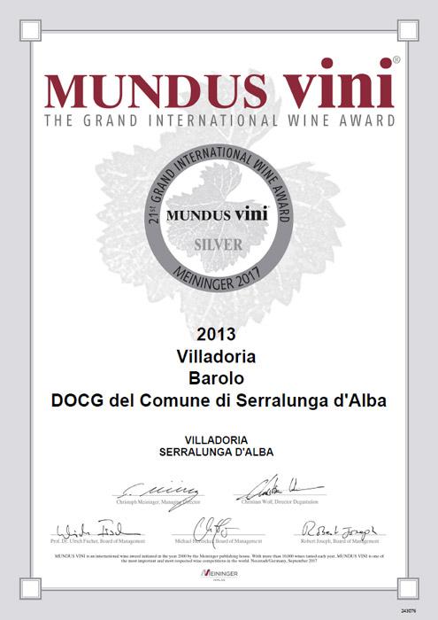 MUNDUS VINI Silver Medal Barolo 2013
