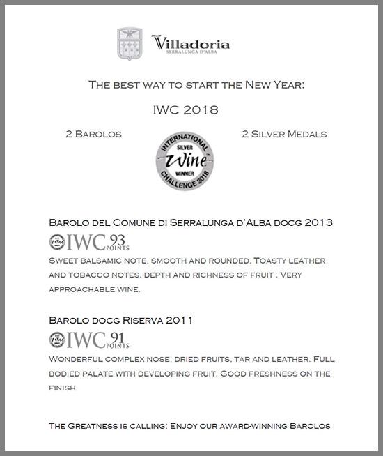 IWC 2018 - 2 Barolos 2 Silver Medals