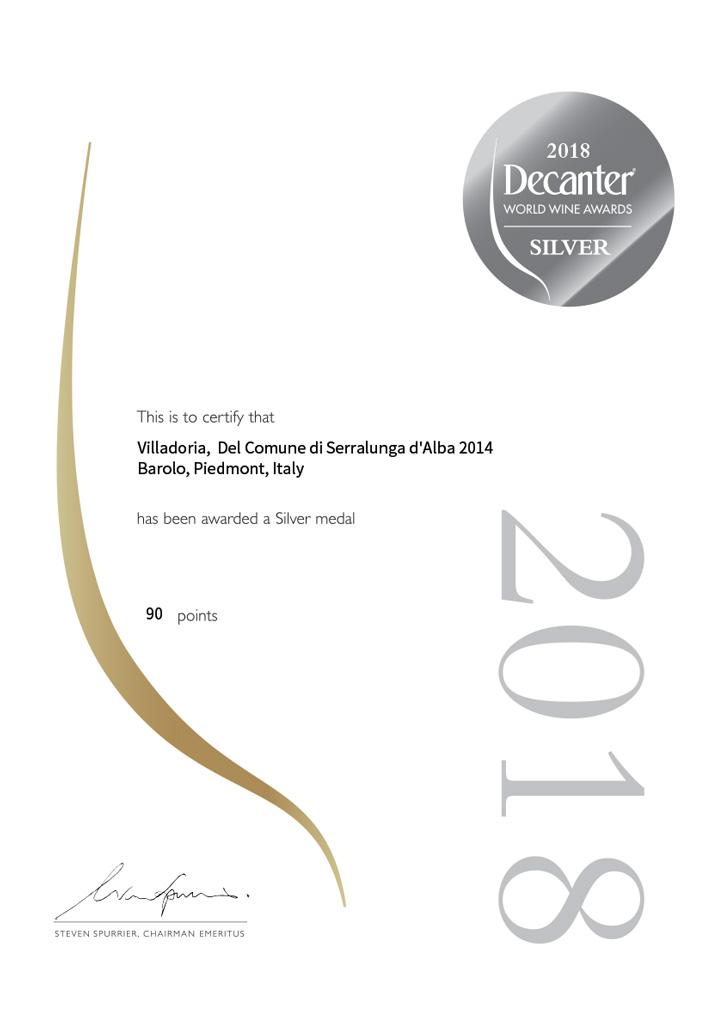 Decanter 2018 - Villadoria Barolo Serralunga d'Alba 2014 Silver Medal
