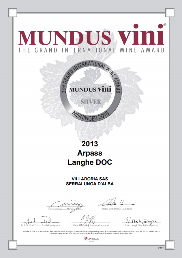 Mundus Vini 2018 - Villadoria Arpass Langhe DOC 2013 Silver Medal